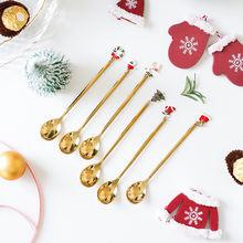 6 шт креативная Рождественская ложка набор из нержавеющей ложки