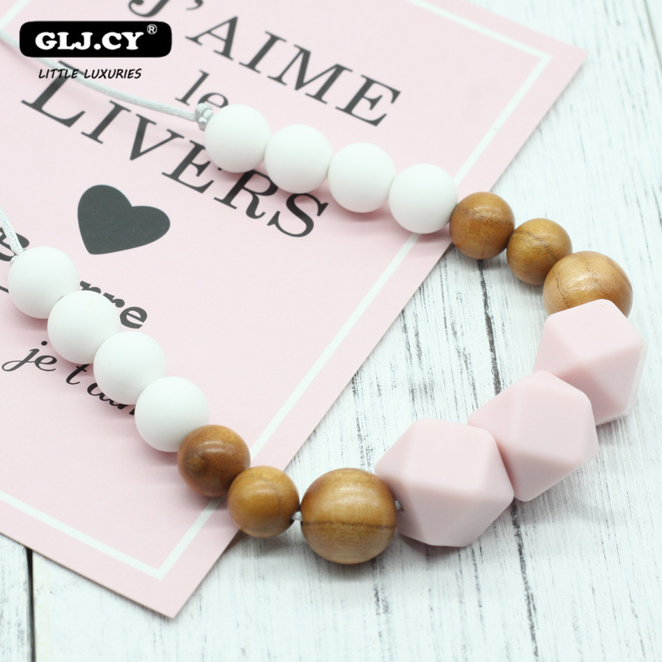 Baby Teether Silicone Necklace 1PC Collar Lactante Silicone Bpa Free Silicone Beads For Baby Charm Pendant Necklace