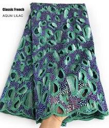 Abbagliante classic tutte le paillettes francese del merletto Super pulito Africano del ricamo di tulle Della Corea maglia di tessuto di pizzo 5 yards lucido di alta qualità