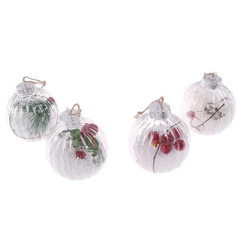 רומנטי עיצוב עץ חג המולד תליון תליית קישוטי כדור שקוף יכול לפתוח פלסטיק חג המולד ברור Bauble קישוט