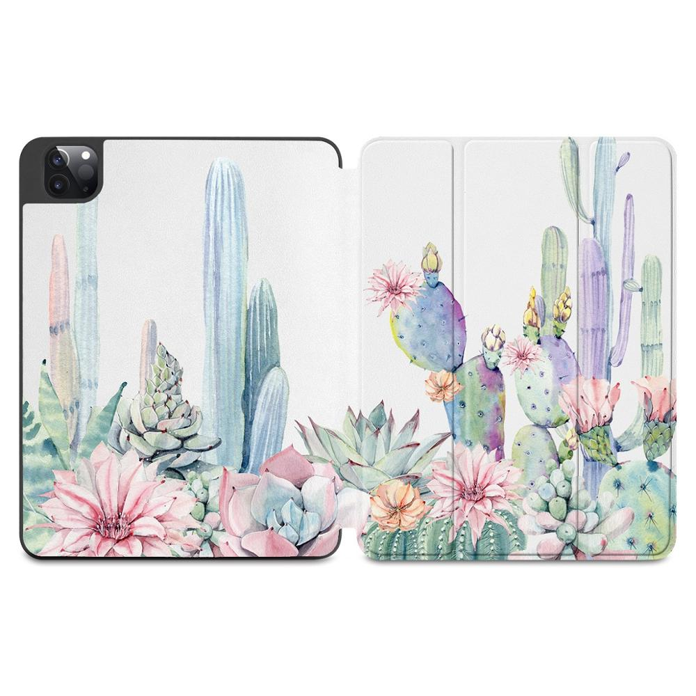 X108 Black Flowers Print Case for Apple iPad Pro 11 2020 2018Full Body Protective Rugged Shockproof Case with