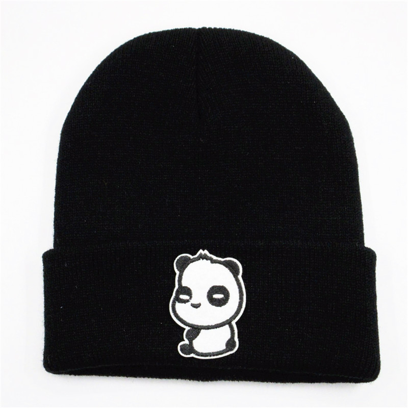 LDSLYJR Love Panda Embroidery Cotton Thicken Knitted Hat Winter Warm Hat Skullies Cap Beanie Hat For Men And Women 239