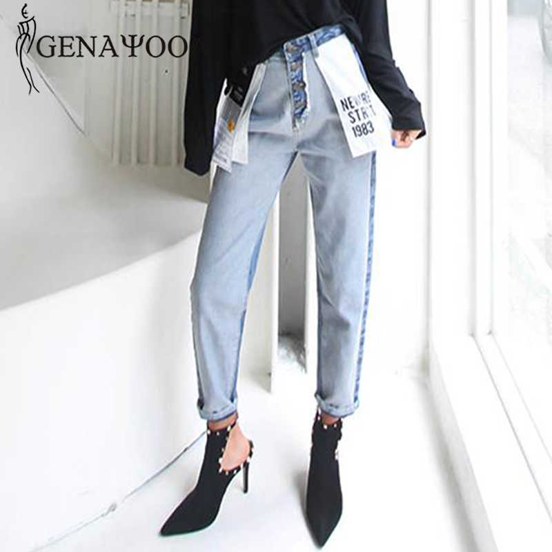 Genayooa High Waist Cotton Korean Blue Mom Jeans Women Pants Autumn Winter Letter Pocket Denim Boyfriend Jeans For Women Female