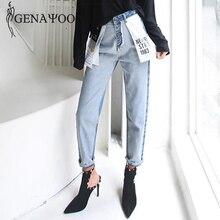 Genayooa Hoge Taille Katoen Koreaanse Blauw Mom Jeans Vrouwen Broek Herfst Winter Brief Pocket Denim Boyfriend Jeans Voor Vrouwen Vrouwelijke