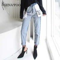 Genayooa Hohe Taille Baumwolle Koreanische Blau Mom Jeans Frauen Hosen Herbst Winter Brief Tasche Denim Boyfriend-Jeans Für Frauen Weibliche