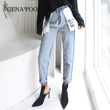 Genayooa alta cintura algodón coreano azul mamá Jeans Mujer Pantalones Otoño Invierno carta bolsillo Denim Pantalones vaqueros de estilo Boyfriend para mujer