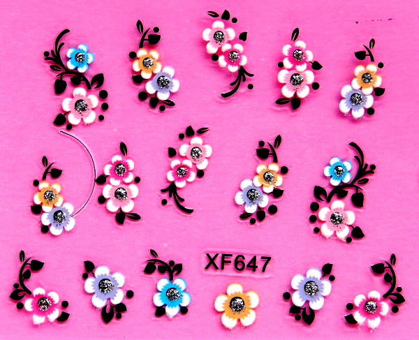 XF 5D Relief Nail Sticker Stereo Nail Sticker XF647