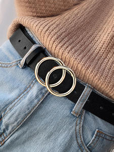 NO.ONEPAUL Jeans Dress Circle-Buckle Wild-Belts Alloy Double-Ring Girl Designer's Fashion