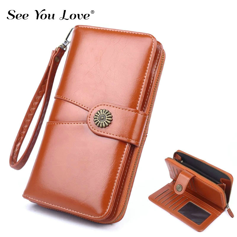 2019 New Phone Pocket Luxury Wallets Women Brand Lady Purses For Leather Clutch Long Hasp Woman Wallet Female Purse Card Holder