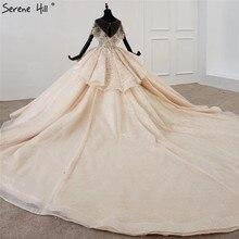 고요한 힐 럭셔리 두바이 샴페인 짧은 소매 웨딩 드레스 2020 장식 조각 구슬 하이 엔드 신부 가운 DHX0072 맞춤 제작