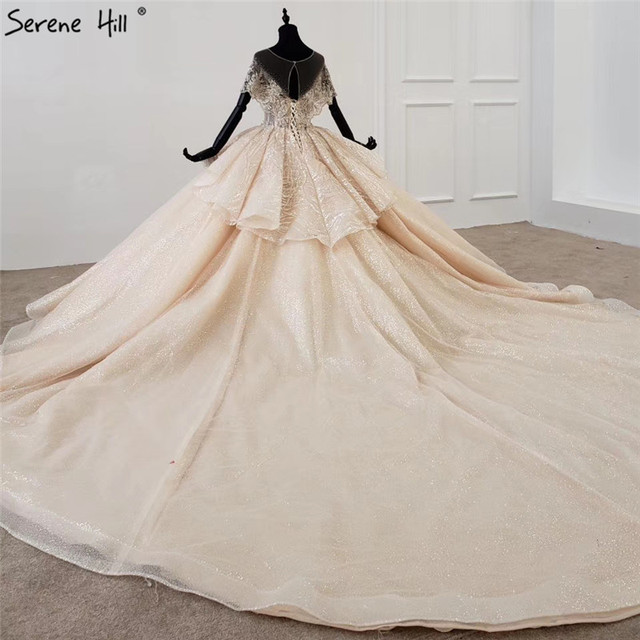 Serene Hill Luxury Dubai Champagne Short Sleeves Wedding Dresses 2020 Sequins Beading High end Bridal Gowns DHX0072 Custom Made