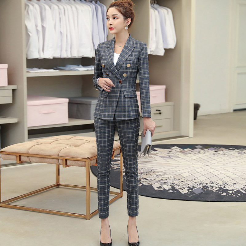 Temperament Ladies Pants Suit Elegant Checkered Blazer Female Business Office Suit Two-piece High Quality Winter Women Clothing