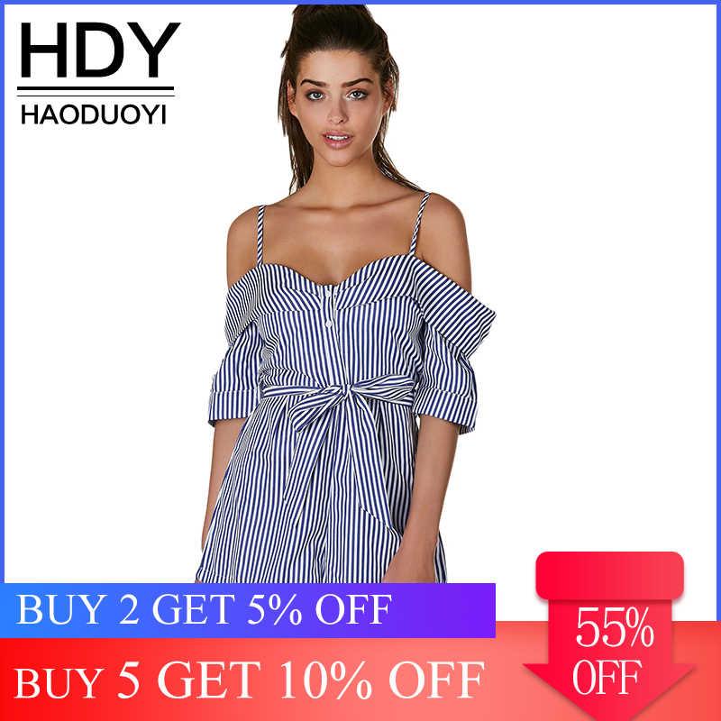 HDY Haoduoyi 2019 mono de moda informal de mujer con hombros descubiertos con botones a rayas
