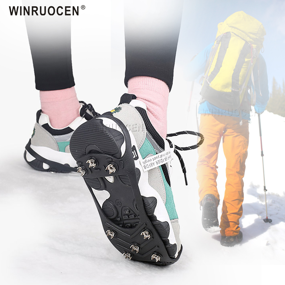 8 Teeth Ice Gripper For Shoes Snow Crampons Anti-slip Ice Gripper Hiking Cleats Spikes Traction Ice Floes 8 Stud Shoes Grip