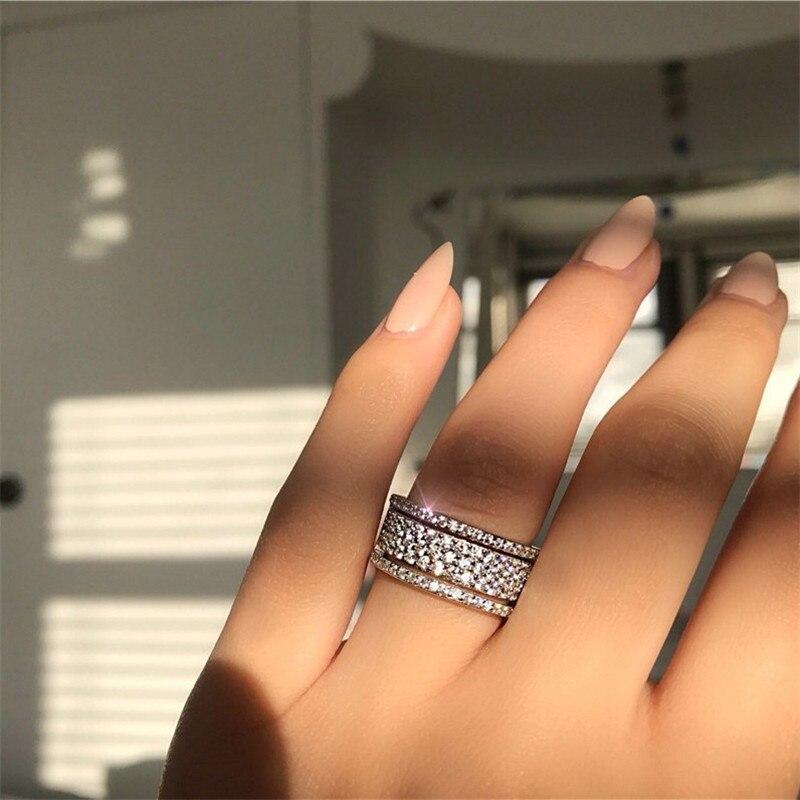 Plata de Ley 925 100% auténtica anillo de compromiso encantador Micro pavé diamante anillo de compromiso de la banda de la boda para las mujeres joyería de fiesta Fantasía abstracta pintura de Ángel con diamantes Full drill cuadrado/mosaico redondo diamante set imagen de diamantes de imitación bordado arte abstracto