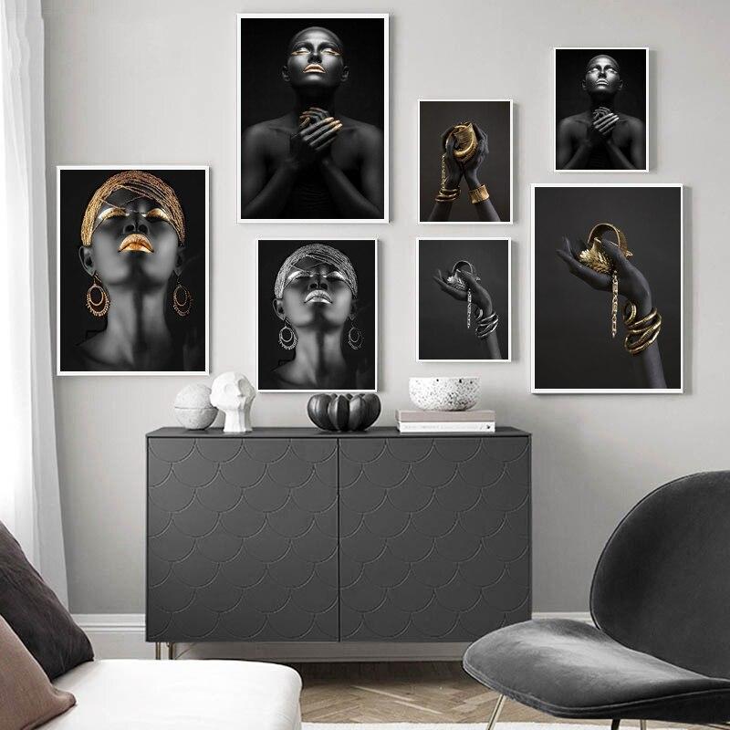 Современный светильник роскошный черный Красота золото Фольга декоративная живопись Гостиная Диван Фон Wall Art Комбинации подвесная картина