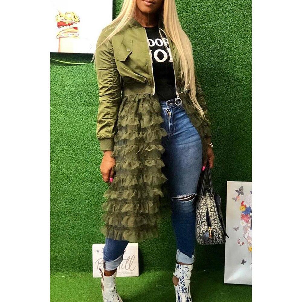 2019 Autumn Fashion Women Lady Mesh Lace Splice Coats Long Sleeve Zipper Frill Tulle Tutu Long Jacket Casual Women Outerwear
