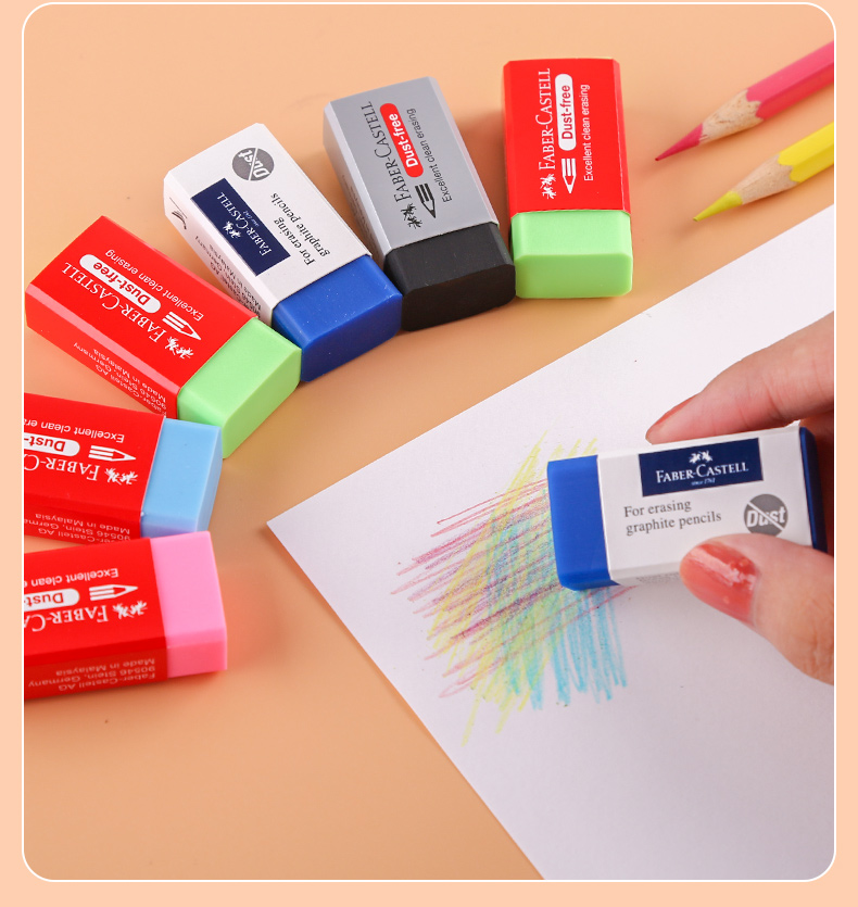 1 Dozen Faber Castell 187170 Art Erase 5 Colors Blue/Black/SkyBlue/Pink/Green Sketch Write Drawing Rubber Pencil Stationery