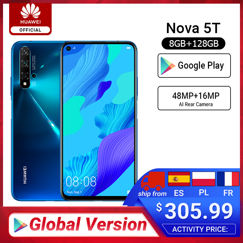 Global Version HUAWEI Nova 5t Kirin980 Octa Core Smartphone 48MP Cameras 32MP Front Camera Cellphone 6.26'' 6G/8G128G Android 9