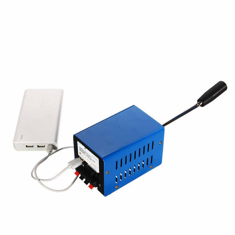 Chargeur haute puissance   Portable, puissance d'urgence, manivelle, chargeur USB, survie d'urgence, générateur de manivelle à main bleue
