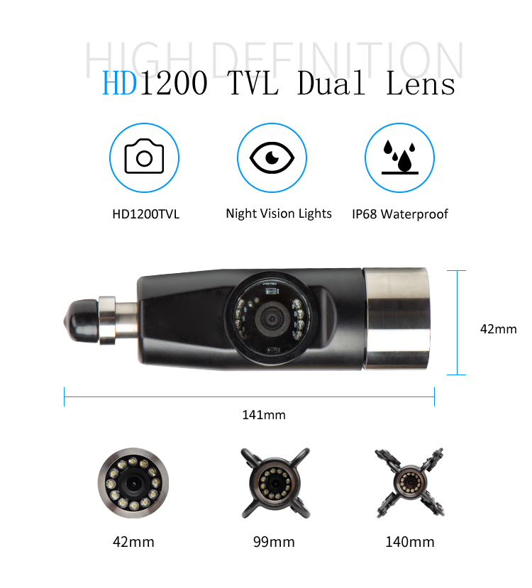 Image 2 - Exclusive Design 4500mAh HD Dual Camera Lens Drain Sewer Pipeline Industrial Endoscope SYANSPAN Pipe Inspection Video Camera-in Surveillance Cameras from Security & Protection
