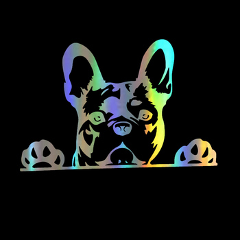 Creativity Reflective Car Stickers Peeking French Bulldog Window Bumper Decals Cover Scratch Motorcycle Accessories PVC16*10cm