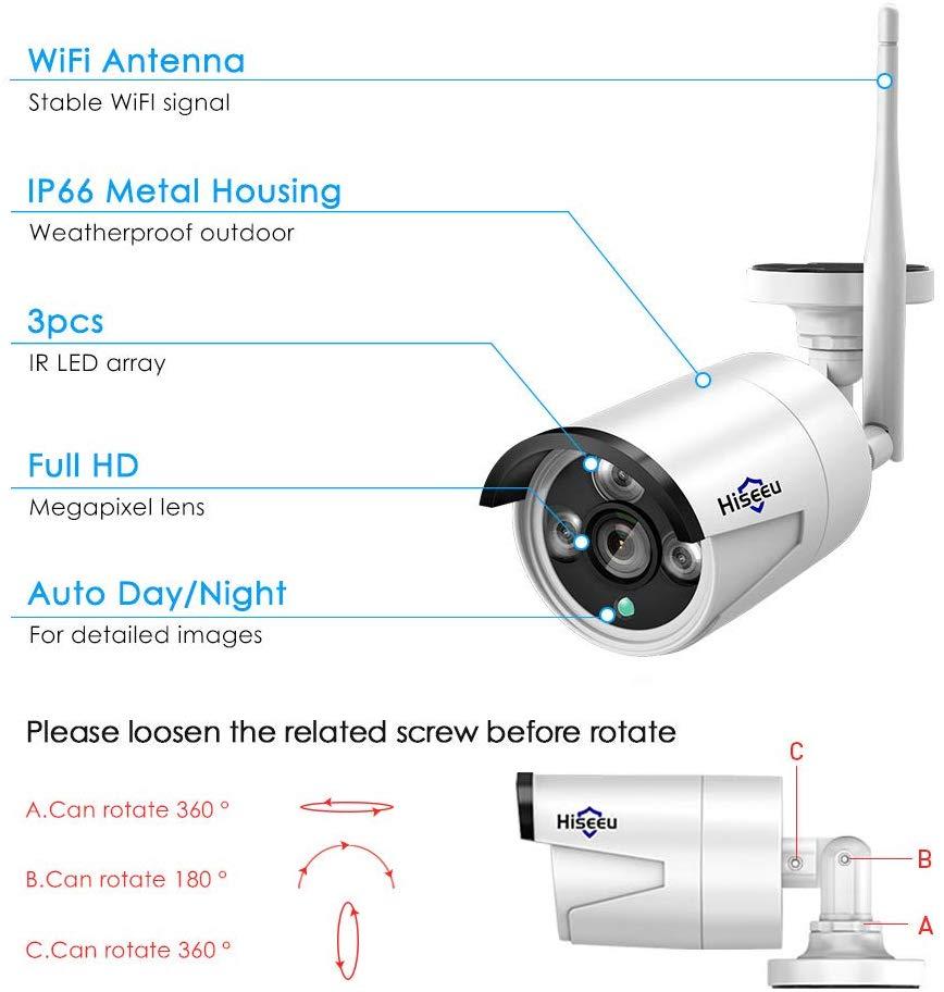 Hiseeu 1080P IP Camera for Wireless NVR Kit