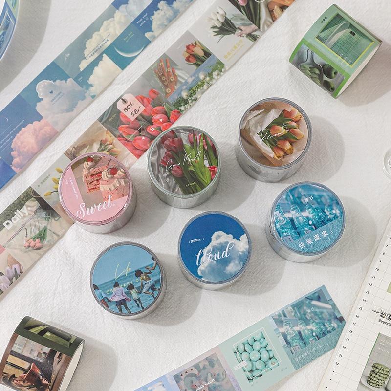JIANWU 35mm*3m Ode To Life Series Washi Tape Sweet Dessert Sky Translucent Masking Tape Cute Decorative Sticker School Supplies