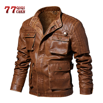Thick Warm Motorcycle Leather Jacket Men 2020 Winter vintage Stand Collar Multi-pocket design Fleece Leather Coat Male jaqueta