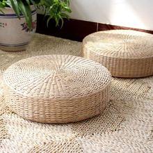 Esteira tecida feito à mão da ioga do futon do rattan engrossar o cais redondo do assento da palha tecido esteira da janela da baía