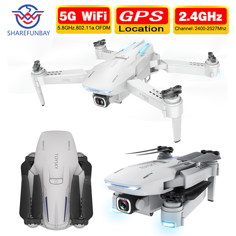 SHAREFUNBAY S162 Drone Gps 4K HD 1080P 5G Wifi Fpv Quadcopter Flight 20 Minutes Rc Distance 500m Dron Smart Return Drone Pro