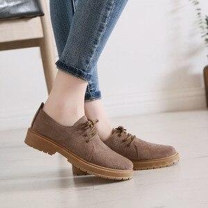Image 2 - 2020 סתיו חדש נעלי נשים שטוח מרטין מגפי נעליים יומיומיות אישה האופנה אוקספורד רטרו אלגנטי שרוכים החלקה