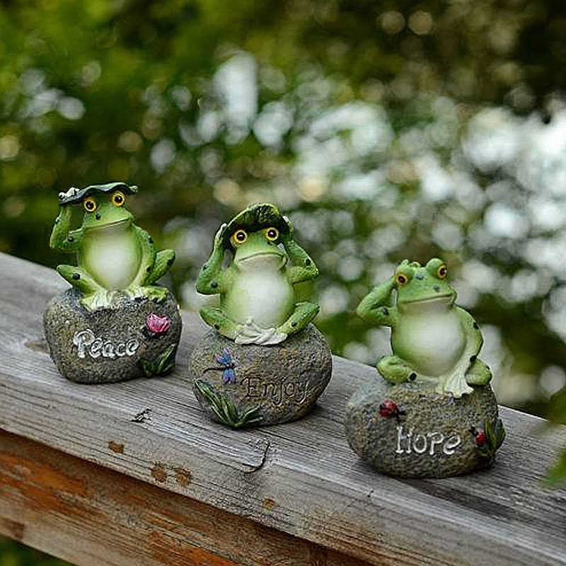 1PCS Outdoor Garden Rana Cute Decorazione Lettera Modello di Casa In Miniatura In Resina Animale Fatto A Mano di Arte Ornamento
