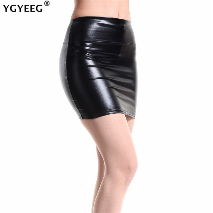 YGYEEG Women Skirt 2019 Fashion Black Solid Faux Leather Sexy Bodycon Summer Pencil Skirts Plus Size High Waist Mini Skirt