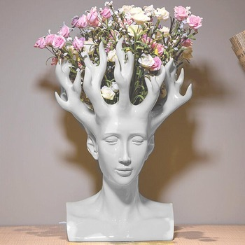 Creative Resin Human Head Vase Art Decoration Soft Decoration Home Vase Jewelry Resin Crafts Gift