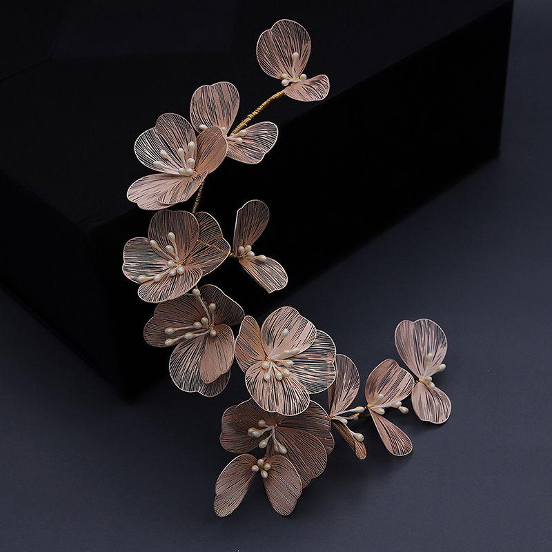 Hair Jewelry Accessories Gold Silk Petal Headband Bride Wedding Headdress Pearl Handmade Headband Dress Hair Accessories