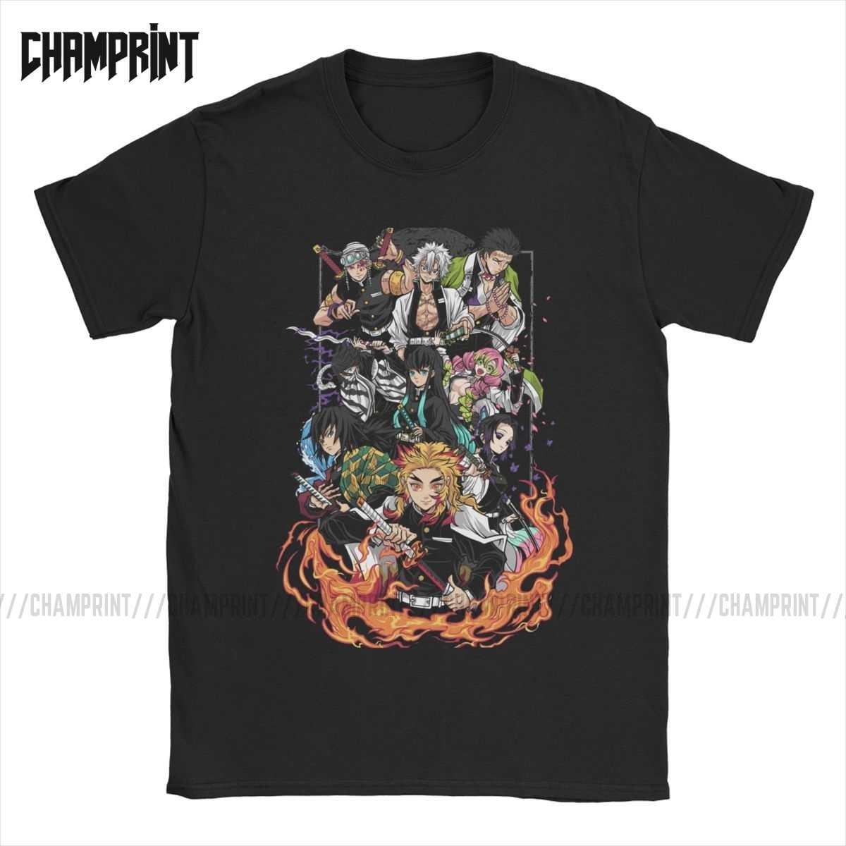 Mannen Hashira Demon Slayer T Shirts Tanjiro Kimetsu Geen Yaiba T-shirts Kamado Nezuko Tanjirou Agatsuma Katoen Korte Mouw Tees Nieuwe