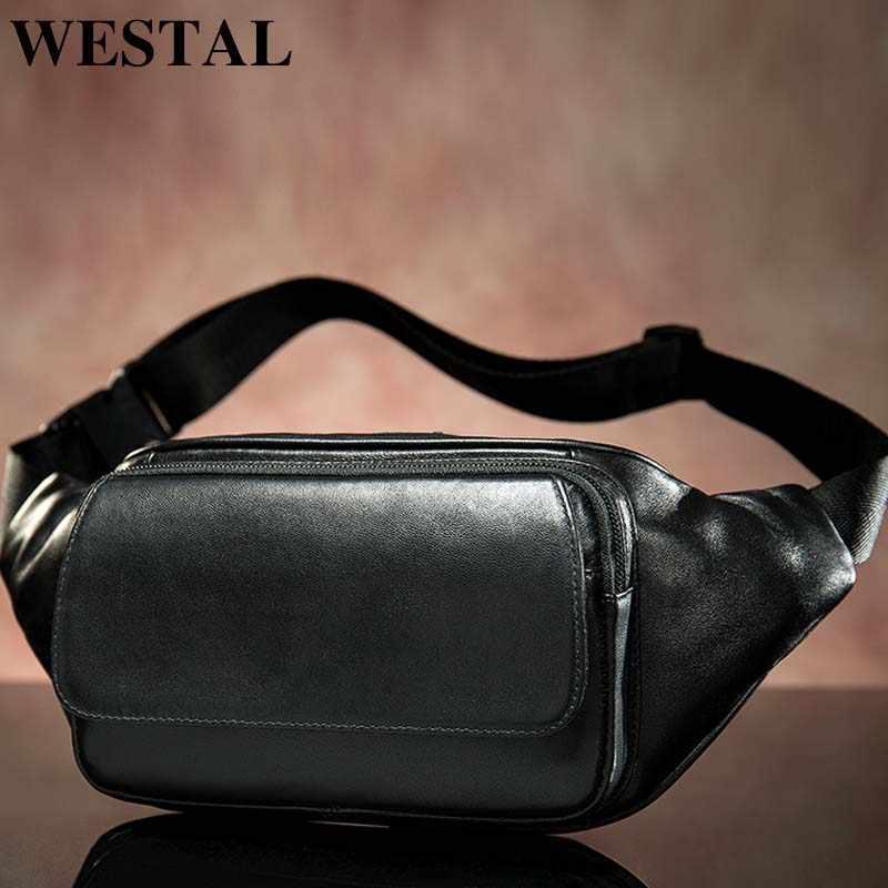 WESTAL 羊革男性のウエストバッグベルト男性ウエストパック男性ファニーパック黒小さな/ボムバッグ革ウエストバッグ 8917