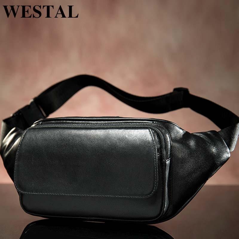 WESTAL Sheep Genuine Leather Men's Waist Bags Belt Men Waist Pack Male Fanny Pack Black Small Hip/Bum Bag Leather Waist Bag 8917