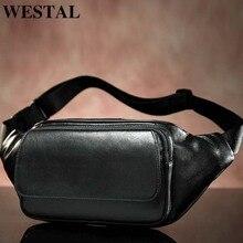 Сумки на пояс WESTAL овец из натуральной кожи Мужской ремень мужчин Мужской Фанни пакет черный небольшой хип/бум сумка 8917