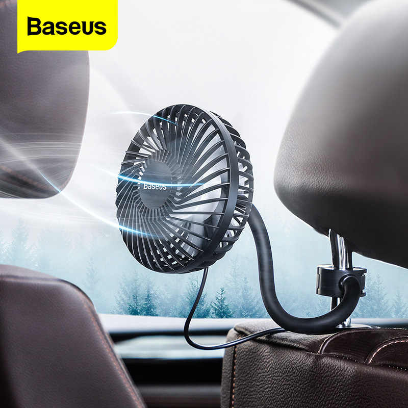 Baseus Car Fan Cooler 360 Degree Rotating Silent Car Air Vent Conditioner Fan 3 Speed Adjustable Backseat Mini USB Fan Cooling