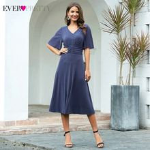 Robe Cocktail-Dresses Formal Short-Sleeve Party-Gowns Ever Pretty Sexy Blue V-Neck A-Line
