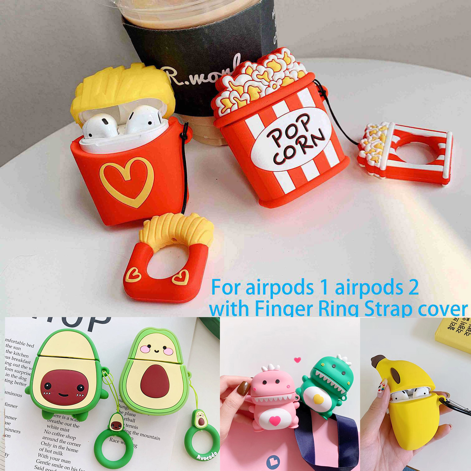 For AirPods Case Cute Cartoon French Fry/dinosaur Baby/avocado Silicon Headphone Cover For AirPods Air Pods 2 Case Protect Capa