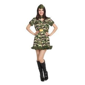 Image 4 - Ładna kobieta żołnierz armia wojownik kostium dla kobiet panieńskie nastoletnie dziewczyny Fantasia Halloween Purim sukienka na karnawał