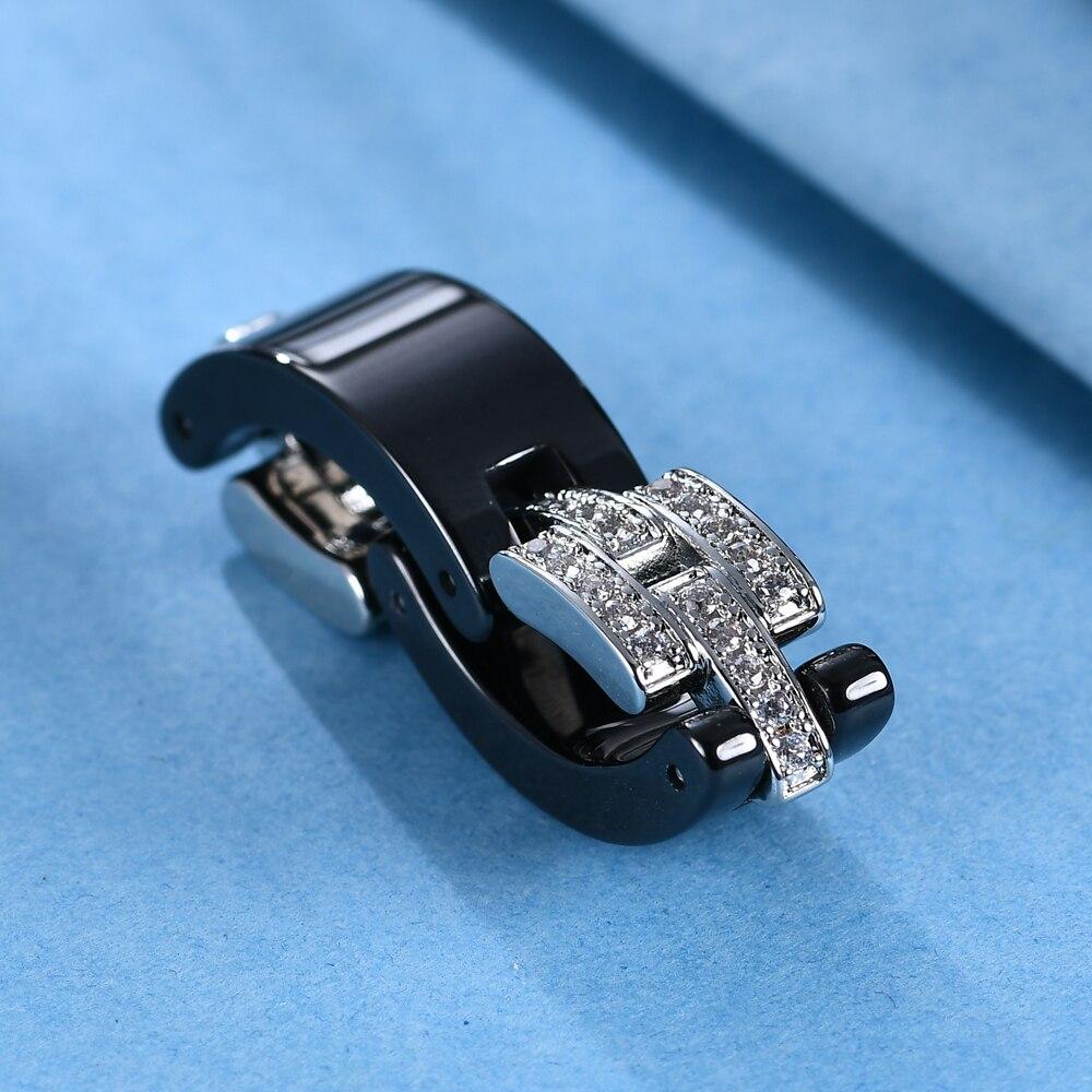 Brand Design Wedding Rings Middle Layer flexible  White Black Ceramic Rings With Zircon for Wedding Women Girls Gift 6