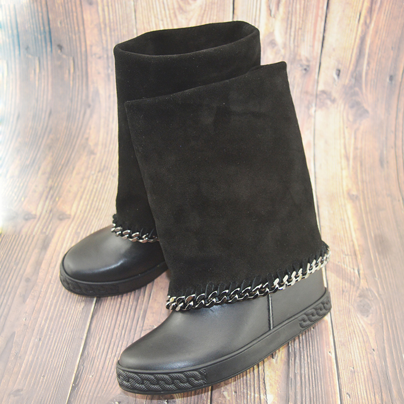 Botines mujer; Замшевая обувь на платформе; Ботильоны с металлическими украшениями; Зимние сапоги на танкетке, увеличивающие рост, с цепочкой; botas