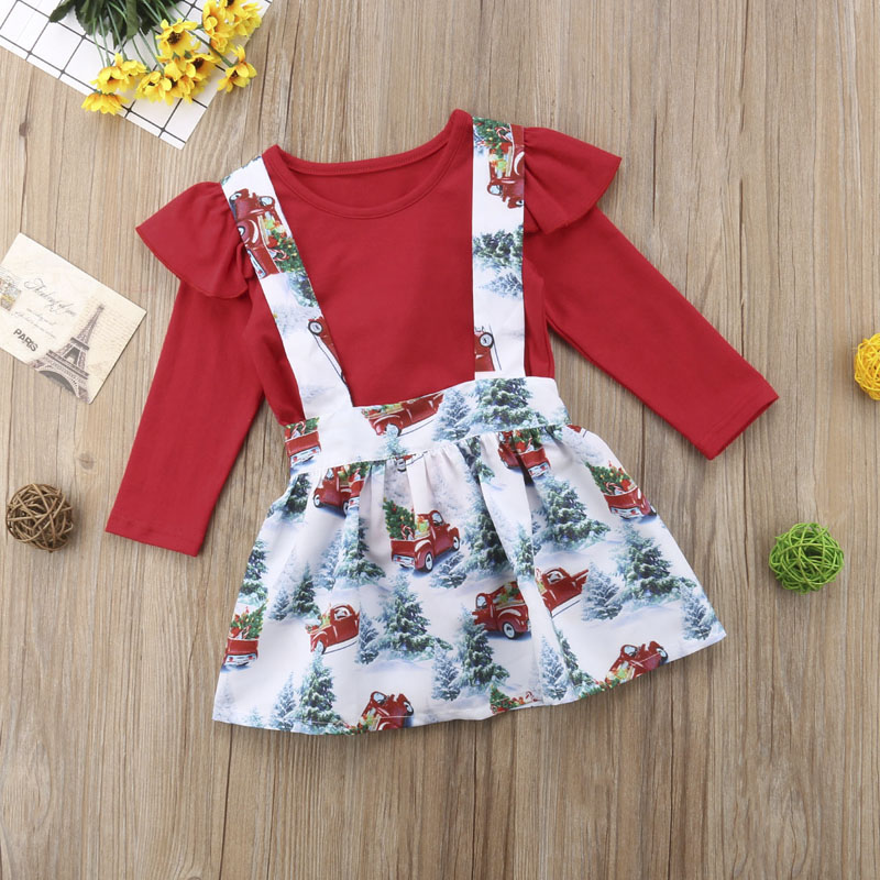 UK Christmas Toddler Kids Baby Girl Xmas Flared Party Santa Swing Dress Clothes