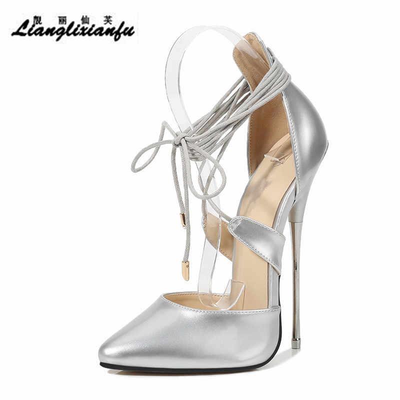 Crossdresser letnie buty zapatos mujer 16cm buty na cienkich wysokich obcasach sandały damskie ślubne pompy ślubne klamry skórzane kozaki na platformie i szpilce