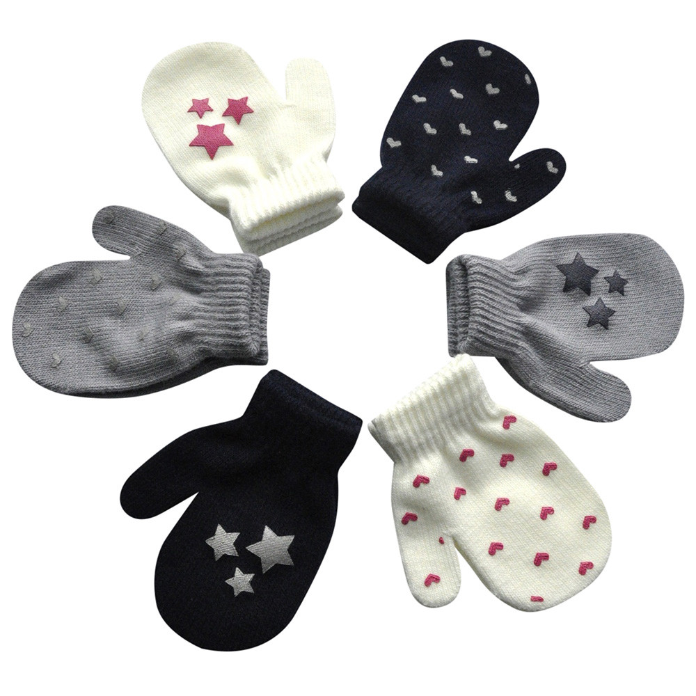 Baby Winter Gloves Infant Baby Cute Star Print Hot Girls Boys Gloves Children Knitted Stretch Mittens Guantes Para Niños