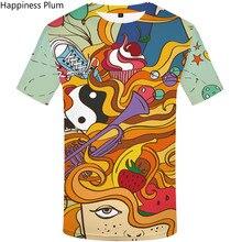 Mens designer t shirts SUmmer Colorful T-Shirt Character Fruit 3d Print Tshirt comics tie dye t shirt fitness gym fun shirt